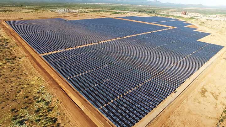 Aerial view of a solar power station in the desert